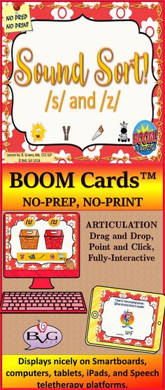This is a comprehensive NO PREP, NO PRINT Boom Card Activity that addresses auditory discrimination, phonemic awareness, and articulation of /s/ and /z/ with an interactive twist. It includes full-color, high-resolution images and is fully interactive with point