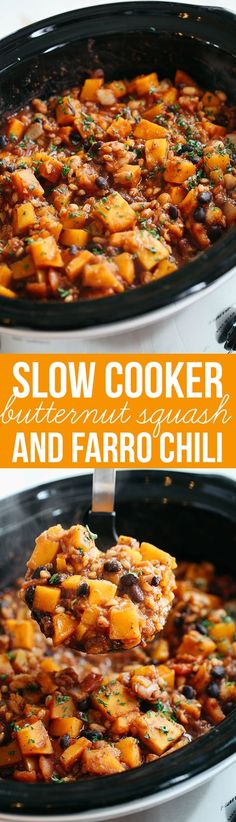 This Slow Cooker Butternut Squash and Farro Chili is healthy, hearty and the perfect delicious Fall recipe! #AlessiFoods #ad