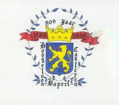 Bladel, Gelegenheidsvignet van het wapen van de gemeente Hoogeloon, Hapert, Casteren bij de viering van het 800 jarig bestaan. 1986