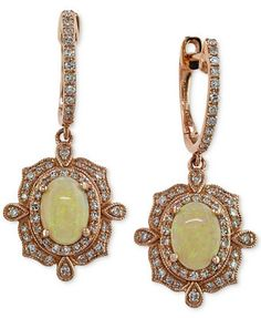 EFFY Opal (9/10 ct. t.w.) and Diamond (3/8 ct. t.w.) Drop Earrings in 14k Rose Gold