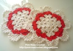 Red & White Hotpads free crochet graph patterns