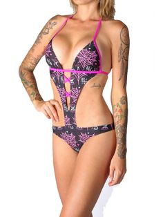 "Women's ""Love Poison"" Monokini by Beautiful Disaster (Black) #InkedShop #monokini #style #swimwear #bathingsuit"