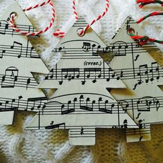 Books + Rec is offering a handcrafted Christmas tree ornament or gift tag made out of vintage classical sheet music. It is the perfect accessory for any music-loving Christmas-celebrator! Diy Christmas Tags, Christmas Arts And Crafts, Christmas Tree Themes, Christmas Music, Christmas Tree Ornaments, White Christmas, Christmas Projects, Glitter Ornaments, Felt Christmas