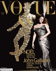 Film and the covers of Vogue Paris: Drew Barrymore on the December/January 2007 cover of Vogue Paris
