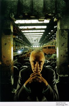 Arnold Newman, when asked to photograph Krupp who was at the heart of the Nazi Germany industrial machine, lit the man in a way to convey a sense of evil.