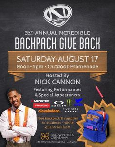 #NickCannon: TODAY IN LA! the #NCredible Backpack Giveback!!!. (Sat Aug 17, 2013)