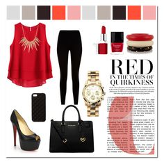Red & Black by carlavogel on Polyvore featuring polyvore, fashion, style, Givenchy, Christian Louboutin, Michael Kors, Kenneth Jay Lane, Alexis Bittar, The Case Factory, Clinique and Butter London