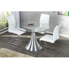 table ronde 110 cm en verre et mtal chrom