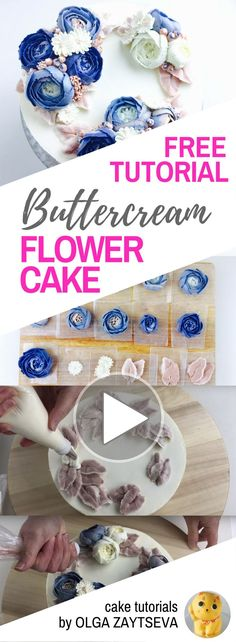 HOT CAKE TRENDS How to make Buttercream Blue Roses Wreath cake - Cake decorating tutorial by Olga Zaytseva. Learn how to make buttercream roses, pipe blossoms and leaves and create this winter floral wreath cake in blue. #flowercakes