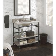 Rustic Yet Refined This Bathroom Vanity Will Add An Industrial - Diy open shelf vanity