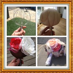 A fabric flower bouquet built on a balloon whisk.... interesting! Can't find the source for the image though.