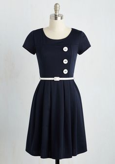 Happy Hosting A-Line Dress in Navy - Blue, White, Solid, Work, A-line, Short Sleeves, Knit, Good, Mid-length, Casual, Nautical, Fit & Flare, Vintage Inspired, 40s, Americana, Fall, Winter, Spring, Summer, Mod