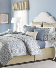 "{I'm kinda liking this...I want a ""paisley print"" but can't find one I like in Queen size}. Macys..CLOSEOUT! 22pc Comforter Set  Martha Stewart Collection Amora 22-Piece Queen Comforter Set... Only $149.97 Refresh your room with the relaxing and regal look of the Amora 22-piece comforter set from Martha Stewart Collection, complete with window treatments, shams, comforter and bedskirt in matching patterns and solids in white, gold, grey and light blie."