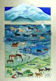 """Minyatür; """"Kayseri Erciyes Dağı ve Yaban Atları"""""""