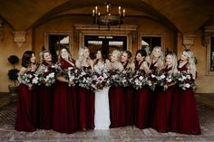These ladies gather around their BFF on her February wedding day and are all smiles! Varying in style, they all wore floor length burgundy dresses. Great look ladies! | Villa Siena | Kylee Patterson Photography | #Villasiena #weddingvenue #gilbertarizona #arizonaweddings #arizonaweddingvenue #mismatched #bridesmaidsdresses #burgundy Mismatched Bridesmaid Dresses, Burgundy Bridesmaid Dresses, Burgundy Dress, Bridesmaids, Intimate Wedding Ceremony, Intimate Weddings, Wedding Venues, Wedding Day, Reception Party
