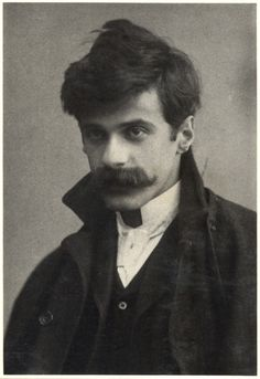 """Alfred Stieglitz self-portrait, c. 1894, age 30. Stieglitz began an affair with Georgia O'Keefe in 1918. He took nude photos of her in his apartment, where his wife eventually found them, soStieglitz and O'Keffe moved into a studio of their own.  A friend described them as""""two teenagers in love. Several times a day they would run up the stairs to their bedroom, so eager to make love that they would start taking their clothes off as they ran.""""  Submitted byJessica S."""
