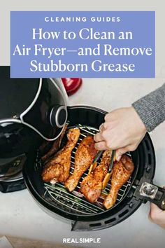 How to Clean an Air Fryer—and Remove Stubborn Grease   Here are our best tips for cleaning an air fryer without all the elbow grease, including a brush that makes removing stuck-on food a breeze. With the right tools and technique, cleaning the air fryer doesn't have to be a daunting chore. #organizationtips #realsimple #howtoclean #cleaningtips #cleaninghacks House Cleaning Tips, Cleaning Hacks, Eco Friendly Cleaners, Heating Element, Just Cooking, Egg Rolls, Real Simple, Natural Cleaning Products, Grease