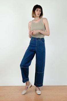 Haze Indigo Seamed Jean American Made Clothing, Denim Branding, Sustainable Clothing, Straight Leg Pants, S Models, Organic Cotton, Mom Jeans, Indigo, Knitwear