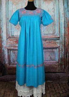 Blue & Dusty Rose Hand Embroidered Dress Maya Chiapas Mexico Hippie Boho Cowgirl #Handmade #Dress