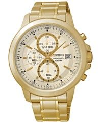 Seiko Men's Chronograph Gold-Tone Stainless Steel Bracelet Watch 43mm SKS450