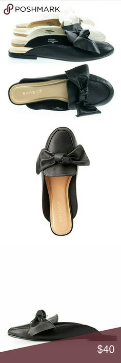 Bow Loafer Mule Beautiful vegan leather bow loafers. Choose between black or cream. Super comfy! ****Please note they are size 8 but fit like 7.5 BAMBOO Shoes Flats & Loafers