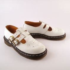 Doc Martens Shoes Mary Janes 1991 Distressed White Leather Shoes T strap UK size 4. $88.00, via Etsy.