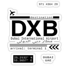 'DXB Dubai International Airport Call Letters' Sticker by Leah Biernacki Tumblr Stickers, Cool Stickers, Laptop Stickers, Dubai, Postage Stamp Design, Snapchat Stickers, Pop Art Design, Purple Art, Destinations