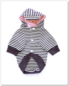 DOG HOODIE  - NAVY STRIPE WITH PINK LINING $49.99
