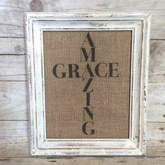 Amazing Grace Burlap Art Print Cross by BellaGreyVintage