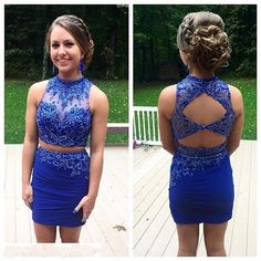 Royal Blue Tight Homecoming Dresses Two Piece Modest Prom Dresses Sleeveless Backless Mini Homecoming Dresses Beaded Party Dress