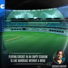 """""""Playing cricket in an empty stadium is like marriage without a bride"""" - Shoaib Akhtar Cricket Quotes, Empty, Marriage, Bride, Valentines Day Weddings, Wedding Bride, The Bride, Wedding, Mariage"""