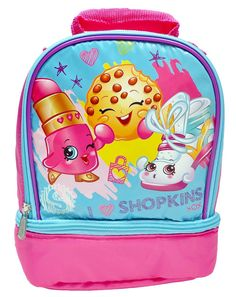 "SHOPKINS ICE CREAM DREAM 16/"" Full-Size Backpack w// Optional Insulated Lunch Box"