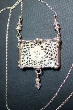 Lace Jewelry, Lace Pendants Necklace, Soldered Jewelry, Vintage Ecru Flower Lace, Sterling Silver Chain