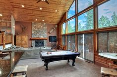 Big Bear Cabin #39 Gold Rush Resort 4Bed/3 Bath Great for Families! To Book call (310) 800-5454 or click the image! #BigBear #vacation #5starvacation #billiards #view
