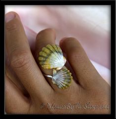 Double Green Sunrise Shells Silver Wrap Around Ring!!!
