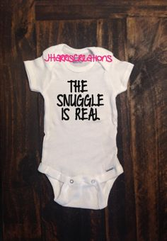 Baby snuggles are the BEST! This onesie is 100% cotton. It is heat pressed with a commercial grade heat press and high quality heat transfer vinyl.  Size chart:  0-3m: 8-12lbs 3-6m: 12-16lbs 6-9m: 16-20lbs 12m: 20-24lbs 18m: 24-28lbs 24m: 28-32lbs  Washing instructions:  Turn garment inside out. Machine wash COLD with mild detergent. NO bleach, NO fabric softener. Dry at normal dryer setting. Do not dry clean. Do not iron on top of the vinyl. Instructions apply to the material only, please…