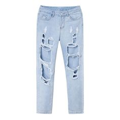Retro Women Zipper Ripped Boyfriend Trousers Sexy Denim Ripped Washed... ($21) ❤ liked on Polyvore featuring jeans, pants, bottoms, denim jeans, destructed boyfriend jeans, destroyed jeans, distressed jeans and blue ripped jeans