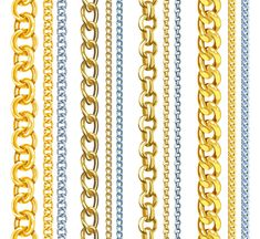 Buy Set of Realistic Gold and Silver Chains by Annzabella on GraphicRiver. Set of realistic vector gold and silver chains Graphic Design Pattern, Graphic Patterns, Graphic Design Art, Eps Vector, Vector Free, Gold Chains For Men, Silver Chains, Baroque Pattern, Digital Prints