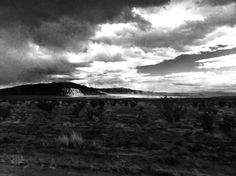 Black & White desert mountain landscape in New Mexico - taken from the highway; Bernalillo, New Mexico / Rio Rancho iPhone 5 - processed in phone.