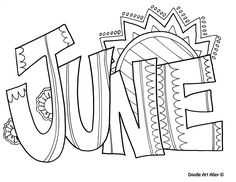June Coloring Page Make your world more colorful with free printable coloring pages from italks. Our free coloring pages for adults and kids. Summer Coloring Pages, Coloring Pages To Print, Coloring Book Pages, Printable Coloring Pages, Coloring Pages For Kids, Kids Coloring, June Colors, Abc Letra, Clip Art
