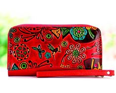 Designer wallets, women wallets, leather wallets, handmade leather wallets embossed and hand painted really cool wallets
