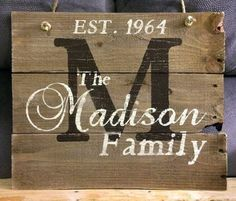 This hand-painted, wood sign comes personalized with your family name and established date to add to your home decor. This would make a perfect wedding or house warming gift. Please include in the notes when you purchase this sign: ~Last Name ~Established date (year or date and year) ~First Names (Optional) All of my creations are made of reclaimed pallet boards. They are hand-painted with happiness and love. All creations are made after they are ordered.