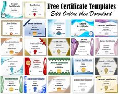 Free Certificate Templates   Edit Online & Print at Home   Instant Download Free Printable Certificate Templates, Free Certificates, Certificate Design Template, Free Printables, Templates Free, Certificate Maker, Certificate Format, Certificate Frames, Free Infographic Templates