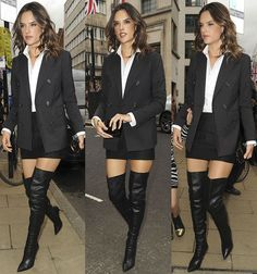Alessandra Ambrosio Parties in Racy Gianvito Rossi Thigh-High Boots Thigh High Boots, High Heel Boots, Over The Knee Boots, Heeled Boots, Alessandra Ambrosio, Platform High Heels, Black High Heels, Sexy Boots, Costume
