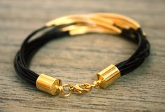 Thin Dark Brown Leather Bracelet with Gold Tube by fourhandsNYC