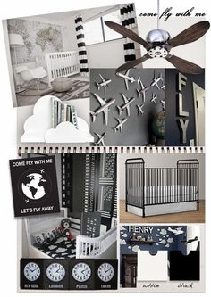 This cute aviation themed nursery in black and white is just the thingto inspire a future jet setter or pilot.   Credits : Traveller nurs...