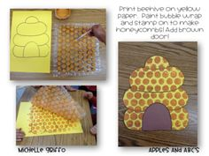 Here you are Jan - Bubble Wrap Bee Hive! Won't pay for it but love this idea I think I can do it myself especially since hailey is too little for writing projects Insect Crafts, Bee Crafts, Art For Kids, Crafts For Kids, Bee Art, Spring Theme, Bee Theme, Classroom Crafts, Bubble Wrap