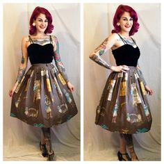 Vintage 1950's Native Americal Novelty Skirt by GypsyGothVintage