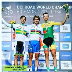 Ramunas Navardauskas on the podium with the bronze for Lithuania at the UCI World Championships #Richmond2015