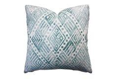 Dakota 20x20 Cotton-Blend Pillow, Teal, feather and down
